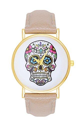 Sugar Candy Skull Tattoo Totenschaedel Schaedel Farbe Creme Beige Gold Armbanduhr Uhr Uhren Trend Trenduhren Pirat Kostuem Skulls Totenkopf La Boheme Anker Weltkarte Dalas Mingbo Bijou