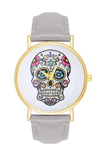 Sugar Candy Skull Tattoo Totenschaedel Schaedel Farbe Grau Gold Armbanduhr Uhr Uhren Trend Trenduhren Pirat Kostuem Skulls Totenkopf La Boheme Anker Weltkarte Dalas Mingbo Bijou