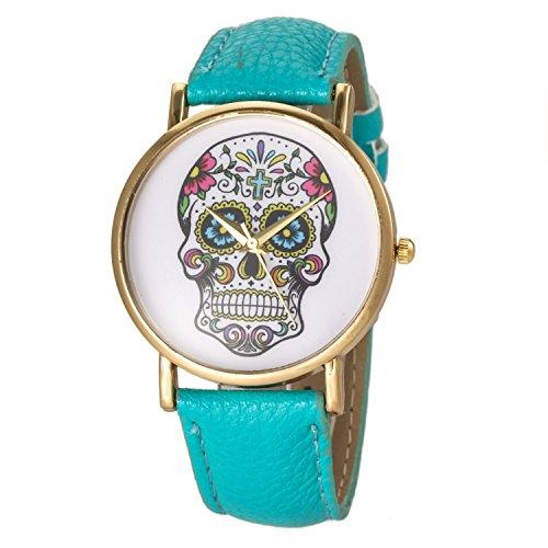 Denis Charm Womens Fashion Skull Ghost Head Leather Watch Damen Laessig Armbanduhr Legierung Der Totenkopf Blue