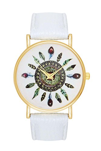 3 Color High Fashion Leather Peacock Birds Feathers Pattern Watch For Women Dress Uhren Quartz Watches White