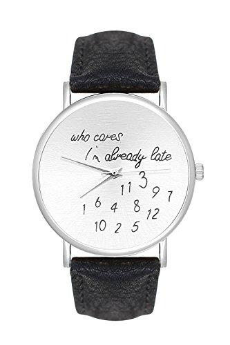 Fashion Trend Uhr mit Schriftzug Who Cares Im already late Farbe Silber Schwarz Armbanduhr Unisex Blogger Uhren Trenduhren Minimalistisch La Boheme Lederarmband Dalas Bijou Mingbo