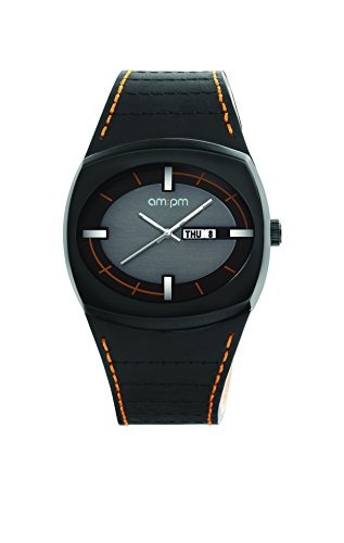 AM PM Unisex Armbanduhr PG127 U082 Schwarz IP Stahl Gehaeuses Schwarz Leder Armband Quartz