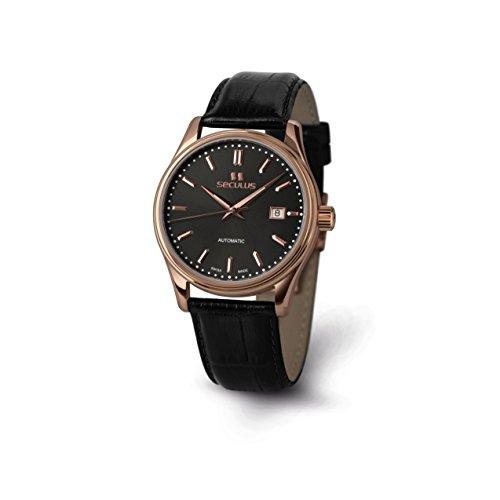 Seculus Ambassador Herren Armbanduhr 40mm Armband Leder Schwarz Saphirglas Automatik 1015G 7 2824 LB R BAP