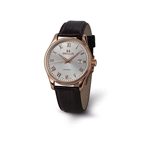 Seculus Ambassador Herren Armbanduhr 40mm Armband Leder Braun Saphirglas Automatik 1015G 7 2824 LBr R SR