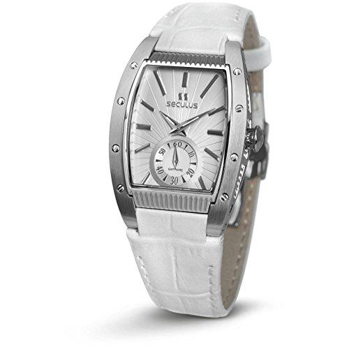 Seculus Design Damen Armbanduhr Armband Leder Weiss Gehaeuse Edelstahl Batterie Analog 1667 2 1069 LW SS W