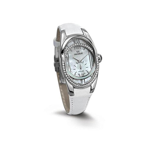 Seculus Design Damen Armbanduhr Armband Leder Weiss Gehaeuse Edelstahl Batterie Analog 1668 2 1064 LW SSst W