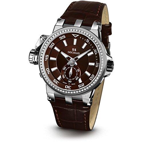 Seculus PREMIUM 1703 Damen Armbanduhr 37mm Armband Leder Braun Batterie Analog 1703 5 1069 LBr SSst BrAP