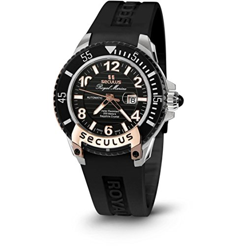 Seculus Royal Marine Flagship Damen Armbanduhr 37mm Armband Silikon Automatik Analog 3443 7 2671 SIL SSR B