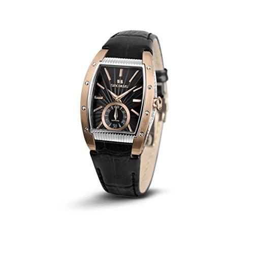 Seculus Design Damen Armbanduhr Armband Leder Schwarz Saphirglas Batterie Analog 1667 2 1069 LB R B