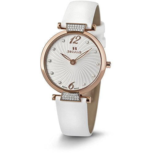 Seculus Illusion Damen Armbanduhr 34mm Armband Leder Weiss Saphirglas Batterie Analog 1705 3 1062 LW Rst W