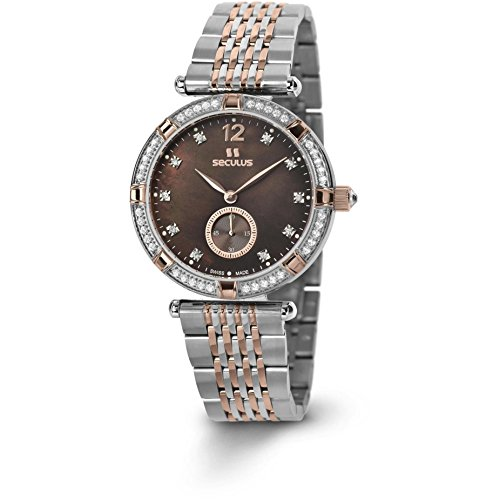 Seculus Coppelia Damen Armbanduhr 36mm Armband Zweifaerbiger Edelstahl Batterie 1704 4 1064 M 2TRst Br