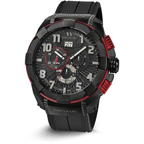 Seculus Endurance Herren Armbanduhr 50mm Armband Silikon Schwarz Schweizer Quarz Analog 4518 Sil IPB Re