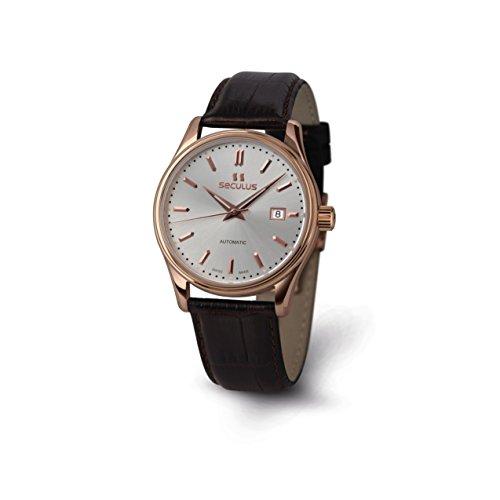 Seculus Ambassador Herren Armbanduhr 40mm Armband Leder Braun Saphirglas Automatik 1015G 7 2824 LBr R SAP