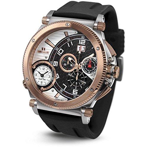 Seculus Fausto Herren Armbanduhr 57mm Armband Silikon Gehaeuse Edelstahl Batterie 4500 2 504B SIL SSR BW