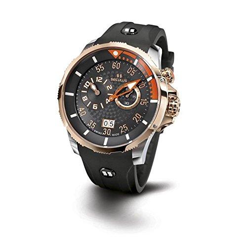 Seculus Phantomas Herren Armbanduhr 42mm Armband Silikon Gehaeuse Edelstahl Batterie 4505 3 422 SIL 2TR BOr