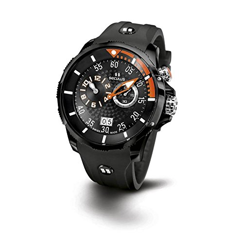 Seculus Phantomas Herren Armbanduhr 42mm Armband Silikon Schwarz Saphirglas Batterie 4505 3 422 SIL B BOr