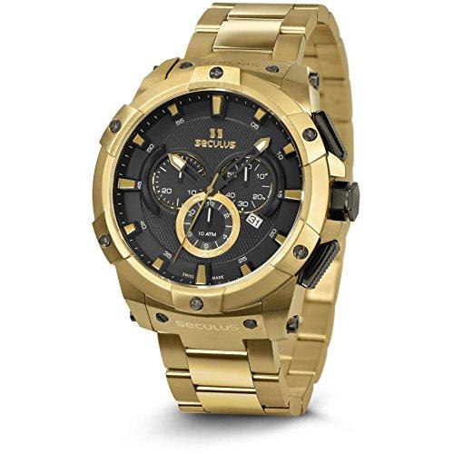 Seculus Ridge Herren Armbanduhr 48mm Armband Edelstahl Gold Saphirglas Schweizer Quarz Analog 4517 M Y Bk