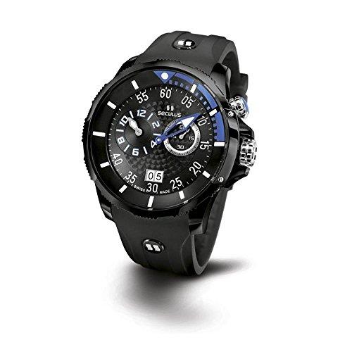 Seculus Phantomas Herren Armbanduhr 42mm Armband Silikon Schwarz Saphirglas Batterie 4505 3 422 SIL B BA