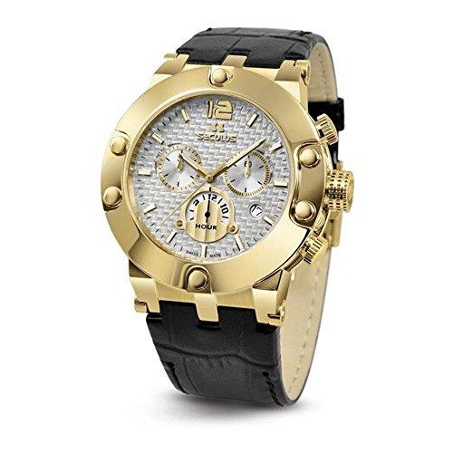 Seculus Emir Herren Armbanduhr 44mm Armband Leder Schwarz Batterie Zifferblatt Silber 4490 2 503D LB Y W