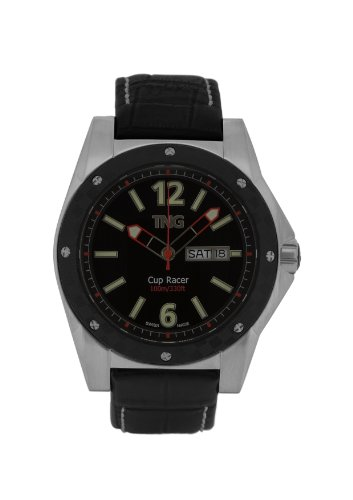 TNG Herren Armbanduhr Analog Leder Schwarz TG667 30571 02PV
