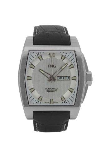 TNG Herren Armbanduhr Analog Leder Schwarz TG667 30572 01PV