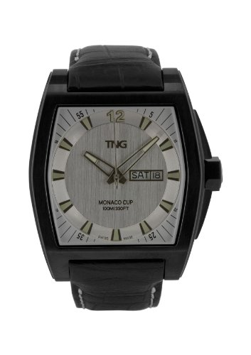 TNG Herren Armbanduhr Analog Leder Schwarz TG667 30572 03PV