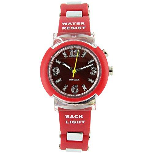 Uhren Sport Damen Lichterkette Silikon Rot 2124