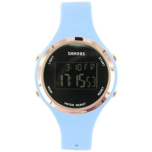 Uhren Sport Damen Zeigt Damen Sport mit Chrono Silikon Blau 2405