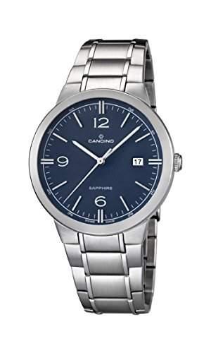 Candino Herren Armbanduhr mit Blau Zifferblatt Analog-Anzeige und Silber Edelstahl Armband C45102