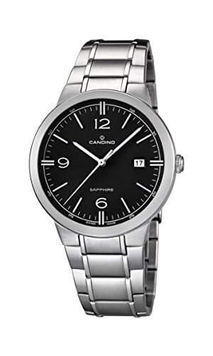 Candino Herren-Quarzuhr mit schwarzem Zifferblatt Analog-Anzeige und Silber Edelstahl Armband C45104