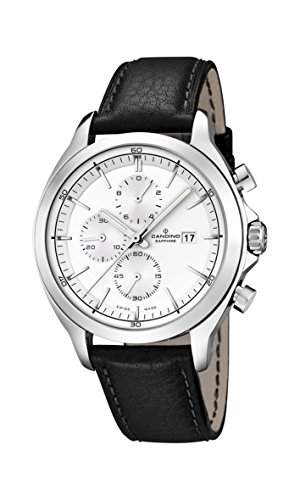 Candino Herren Quarz-Uhr mit weissem Zifferblatt Chronograph-Anzeige und schwarzes Lederband C45161