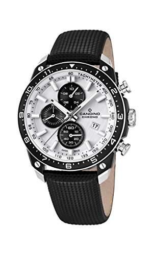 Candino Herren Quarz-Uhr mit weissem Zifferblatt Chronograph-Anzeige und schwarzes Lederband C45201