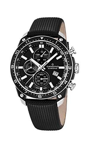 Candino Herren-Quarzuhr mit schwarzem Zifferblatt Chronograph-Anzeige und schwarzes Lederband C45203