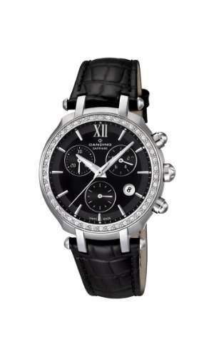Candino Damen-Armbanduhr Chronograph Leder Schwarz C45222