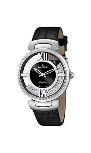 Candino Damen-Quarzuhr mit schwarzem Zifferblatt Analog-Anzeige und schwarz Lederband C45302
