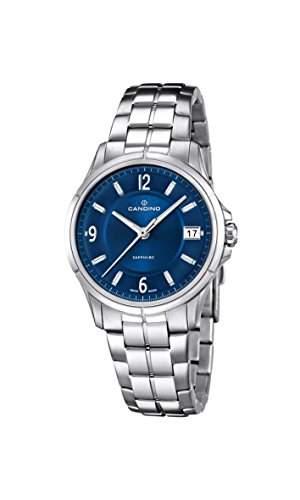 Candino Damen Quarzuhr mit Blau Zifferblatt Analog-Anzeige und Silber Edelstahl Armband C45332