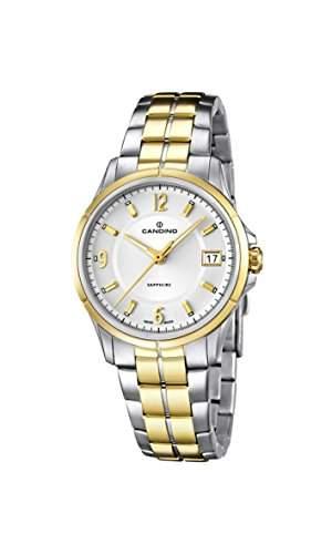 Candino Damen Quarzuhr mit weissem Zifferblatt Analog-Anzeige und Edelstahl-vergoldet Armband C45341