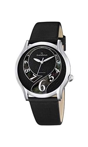 Candino Damen-Quarzuhr mit schwarzem Zifferblatt Analog-Anzeige und schwarz Lederband C45513