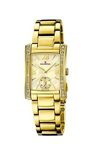 Candino Damen Quarzuhr mit Mutter von Pearl Zifferblatt Analog-Anzeige und Gold Edelstahl vergoldet Armband C45552