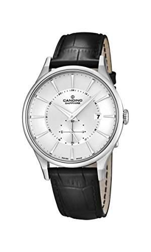 Candino Herren Armbanduhr mit silber Zifferblatt Analog-Anzeige und schwarz Lederband C45581