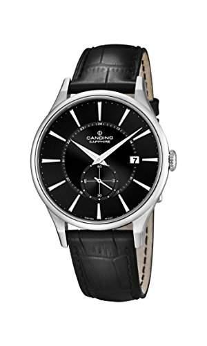 Candino Herren-Quarzuhr mit schwarzem Zifferblatt Analog-Anzeige und schwarz Lederband C45584