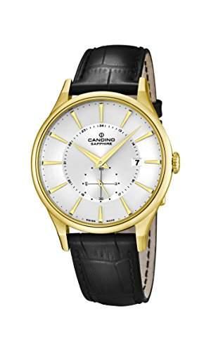 Candino Herren Armbanduhr mit silber Zifferblatt Analog-Anzeige und schwarz Lederband C45591
