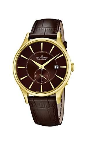 Candino Herren Quarz-Uhr mit Braun Zifferblatt Analog-Anzeige und braunem Lederband C45593