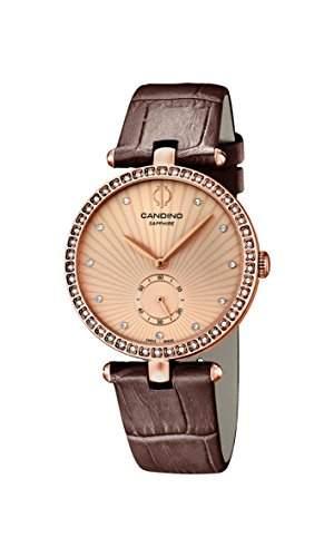 Candino Damen-Quarzuhr mit Rose Gold Zifferblatt Analog-Anzeige und braunem Lederband C45652