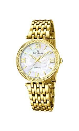 Candino Damen Quarzuhr mit Mutter von Pearl Zifferblatt Analog-Anzeige und Gold Edelstahl vergoldet Armband C45691