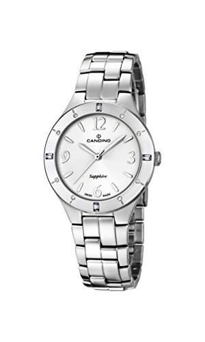 Candino Damen Quarzuhr mit weissem Zifferblatt Analog-Anzeige und Silber Edelstahl Armband C45711