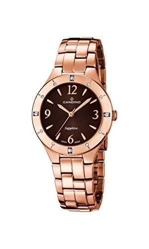 Candino Damen Quarzuhr mit Braun Zifferblatt Analog-Anzeige und Rose Gold Edelstahl vergoldet Armband C45732