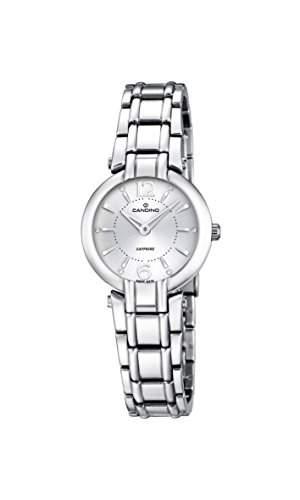 Candino Damen Quarzuhr mit weissem Zifferblatt Analog-Anzeige und Silber Edelstahl Armband C45741