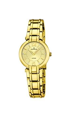 Candino Damen Quarzuhr mit Gold Zifferblatt Analog-Anzeige und Gold Edelstahl vergoldet Armband C45752