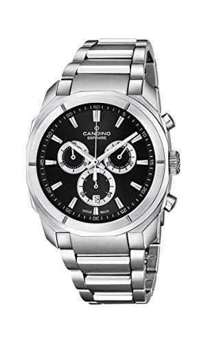 Candino Herren-Quarzuhr mit schwarzem Zifferblatt Chronograph-Anzeige und Silber Edelstahl Armband C45792
